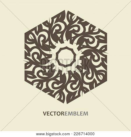 Mosaic Arabic Ornament. Vector Outline Hexagon Emblem. Retro Ornamental Design.