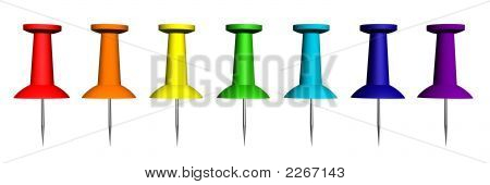 3D Render Of The Colorful Push Pins