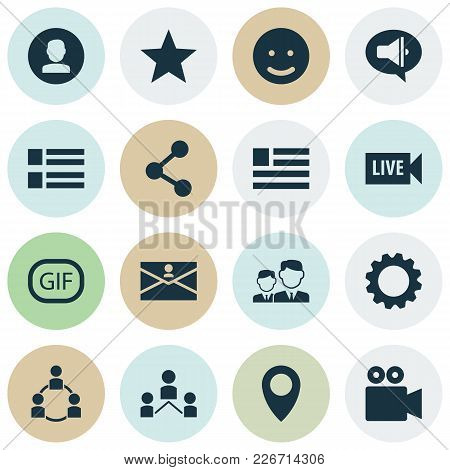Media Icons Set With Live Video, Friends, Form And Other Publish Elements. Isolated  Illustration Me