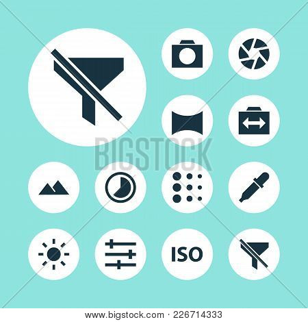 Image Icons Set With Iso, Shutter, Brightness And Other Photography Elements. Isolated  Illustration