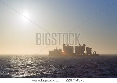 Shmidta, Chukotski Region, Russia - Settlement Shmidta, July 13, 2017: Ship Bigroll Beaufort On Sunr