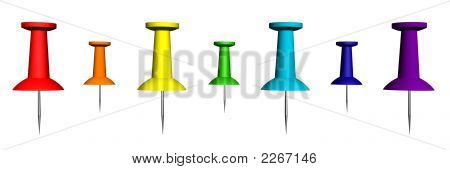 3D Render Of The Colorful Push-Pin