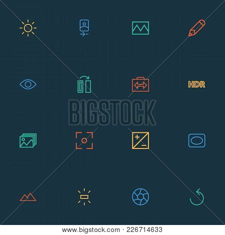 Photo Icons Line Style Set With Shine, Photography, Mode And Other Exposure Elements. Isolated  Illu