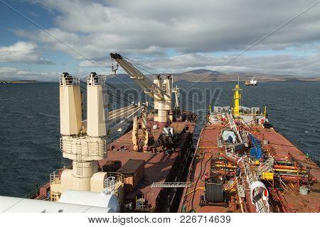 Lavrentiya, Chukotski Region, Russia - Lavrentiya, August 27, 2017: Cranes On Deck, Dry-cargo Ship T