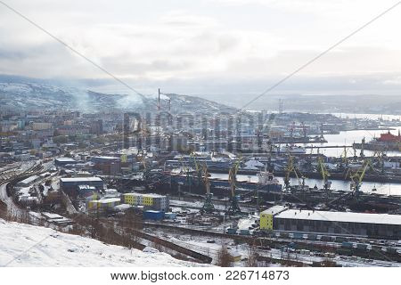 Murmansk, Russia - October 20th, 2017: Murmansk, View On A City And Sea Moorings With Top.