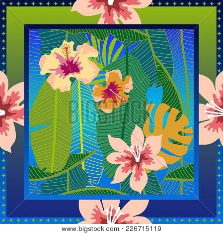 Aloha Textile Collection. Green, Blue, White And Pink Palette.