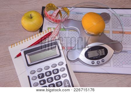 Fruit Diet. The Concept Of Dieting, Losing Excess Weight. Meal Plan, Fruit Dieting