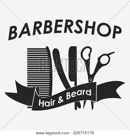 Barbershop Logo. Hairdresser - Vector Illustration Icon Set