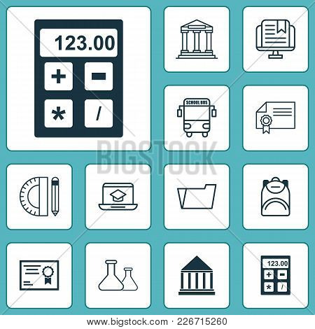 School Icons Set With Academy Building, Flask, Calculator And Other Document Case Elements. Isolated