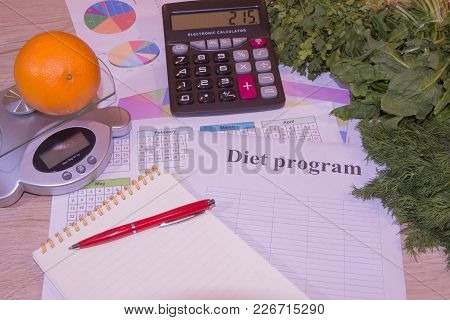 Concept Of Diet. Low-calorie Fruit Diet. Diet For Weight Loss. Measuring Tape, Vegetables And Fruits