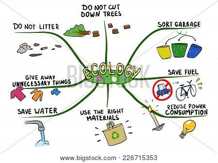 Mind Map On The Topic Of Ecology And Environmental Protection. Mental Map Vector Illustration, Isola