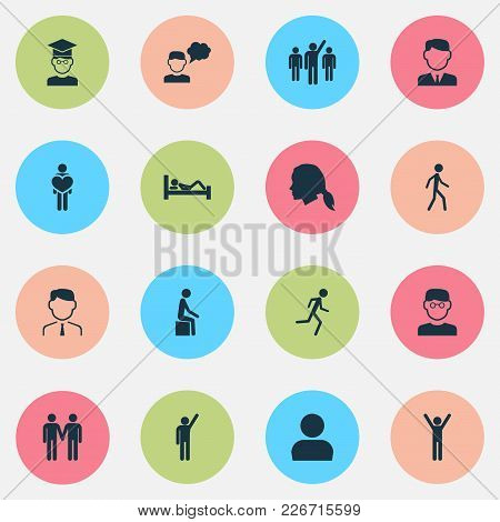 People Icons Set With Leader, Jogging, Student And Other Manager Elements. Isolated  Illustration Pe