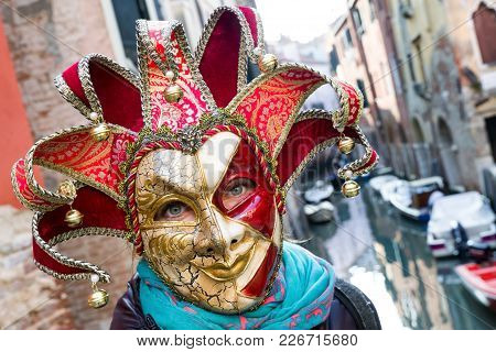 Venice, Italy - February 11: People In Colorful Mask At Traditional Carnival On February 11, 2018 In