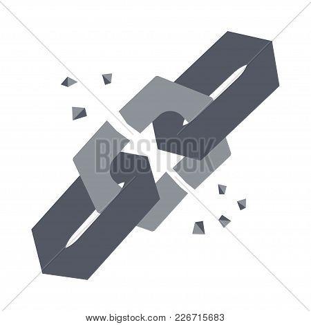 Broken Grey Chain Link Vector Icon Illustration