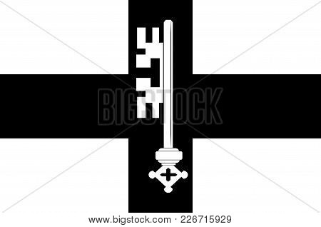 Flag Of Werl Is A Town Located In The District Of Soest In North Rhine-westphalia, Germany. Vector I