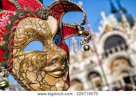Mask Of Clown At Venice Carnival 2018