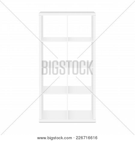 Shelves, shelving for storage - front view. Vector illustration