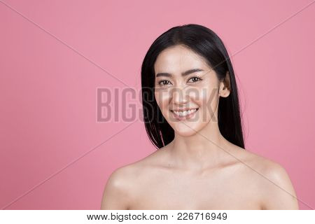 Beautiful Asian Woman Portrait. Beautiful Woman Looking To Camera. Woman Show Her Beautiful Face. Pe