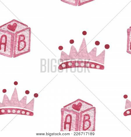 Watercolor Seamless Pattern With Pink Crone And Box. Watercolor Seamless Background.