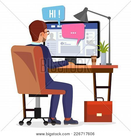Man Communicates On Internet Vector. Personal Social Page On Screen. Communication Concept. Isolated