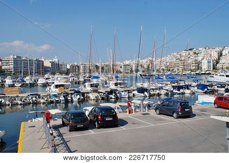 ATHENS, GREECE - APRIL 24, 2017: Boats moored in the Zea Marina at Piraeus. The 160 berth marina was completely renovated and updated in 2004.