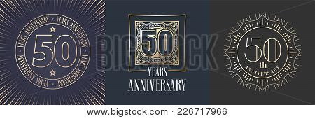 50 Years Anniversary Vector Icon, Logo Set. Graphic Round Gold Color Design Elements For 50th Annive
