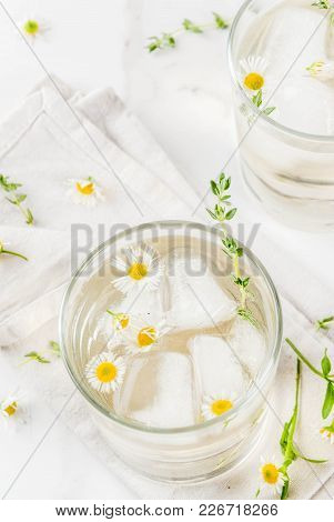 Summer Refreshing Drinks, Infused Herbal Water, Iced Tea. Chamomile Honey And Whiskey Cocktail With