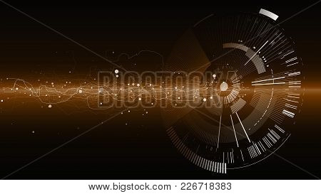 Abstract Tech Design Background. Engineering Technology Wallpaper Made With Lines, Dots, Circles. Fu