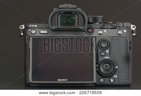 BERLIN, GERMANY - January 02, 2018: Sony a7R II Alpha Mirrorless Fast-focusing and 4K-shooting Digital Camera