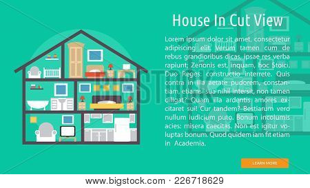 House In Cut View Conceptual Banner | Set Of Great Banner Design Illustration Concepts For Building,