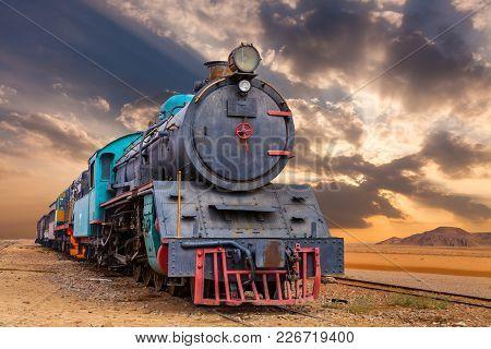Locomotive Train In Wadi Rum Desert, Jordan.