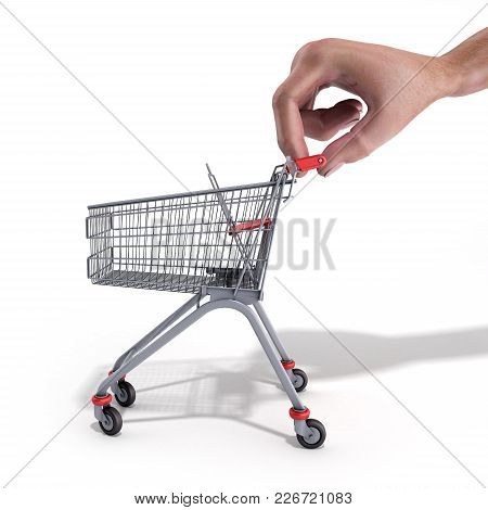 Shopping Cart In A Hand 3d Render Over White Background
