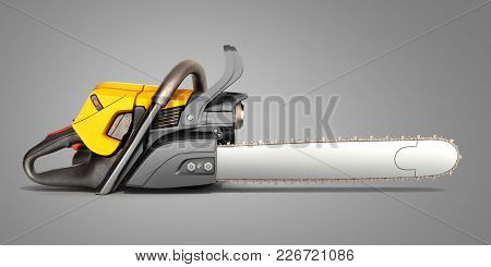 Chainsaw On Grey Background 3d Illustration Image