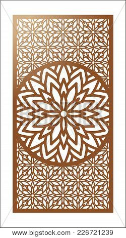 Vector Laser Cut Panel. Pattern Template For Decorative Panel. Wall Panels Or Partition. Jigsaw Die