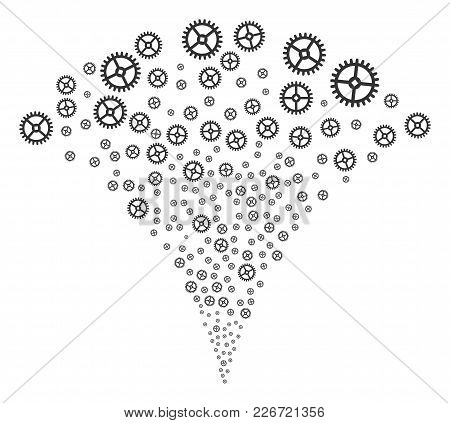Clock Gear Explosion Fountain. Vector Illustration Style Is Flat Iconic Symbols. Object Fountain Con