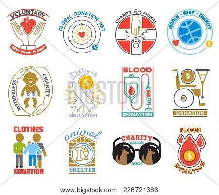 Charity Or Donation Logo Vector Donator Donating Blood Charitably Logotype Illustration Charitable A