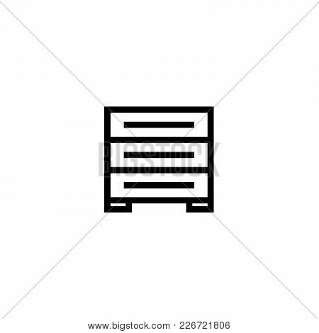 Drawer Icon In Trendy Flat Style Isolated On Background.