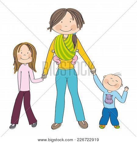 Happy And Smiling Young Mother With Three Children - Girl, Boy And Little Baby Girl Which She Is Car