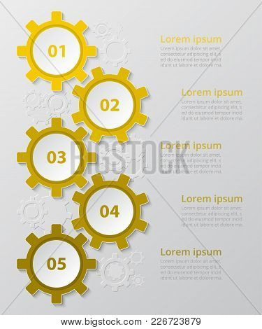 Step By Step Infographic. Yellow Template With 5 Numbers Can Be Used For Workflow Layout, Diagram, C