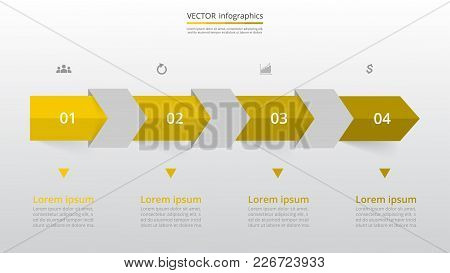 Step By Step Arrows Infographic Template. Presentation Slide With 4 Numbers Can Be Used For Workflow