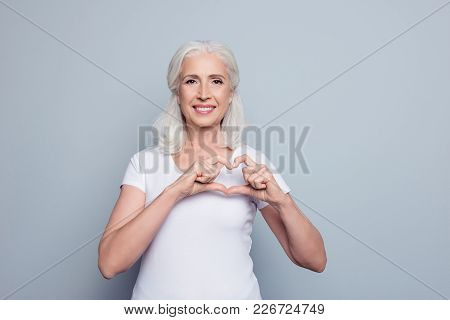 Perfect, Nice, Aged, Old, Pretty Woman, Lover In T-shirt Making, Showing Heart Figure With Fingers,
