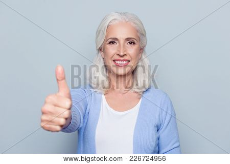 Close Up Portrait Of Happy Joyful Confident Satisfied With Shiny Beaming Smile Mature Woman Grandmot
