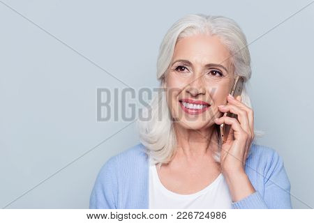 Close Up Portrait Of Happy Joyful Confident Relaxed Cheerful Mature Woman Talking On Smartphone, Iso