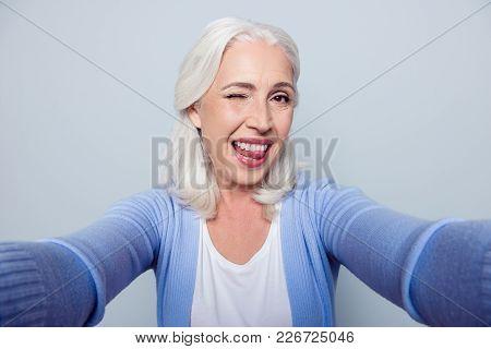 Close Up Portrait Of Happy Cheerful Delightful Charming Beautiful Flirty Mature Lady Granny Grandma,