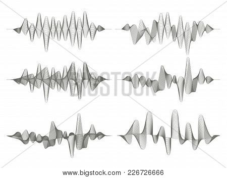 Set Of Sound Waves. Audio Equalizer. Musical Pulse. Vector Music Waves. Monochrome Illustration On W