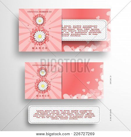 Vector Set Of Greeting Envelope And Insert With Stitches For 8 Of March - International Women's Day