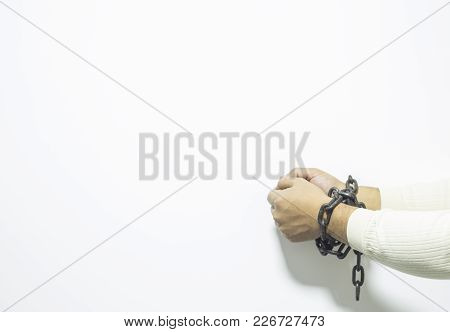 Hands With A Tied Chains On Background