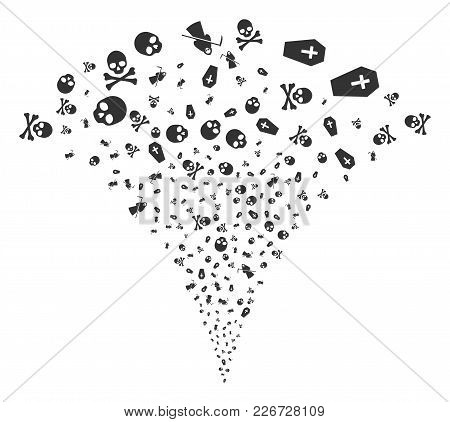 Death Explosion Fountain. Vector Illustration Style Is Flat Iconic Symbols. Object Fountain Organize