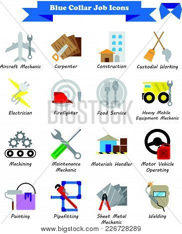 Vector Illustration Ready-to-use 16 Colorful Blue Collar Job Flat Icons Designed As Multiple Profess