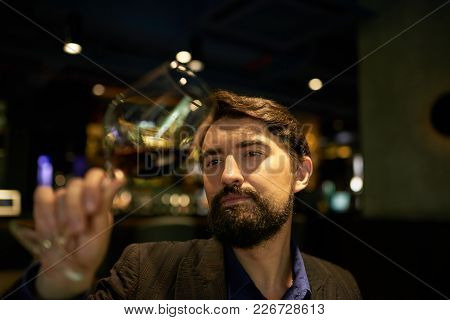 Handsome Man Checking Color Of Red Wine To Assess The Quality